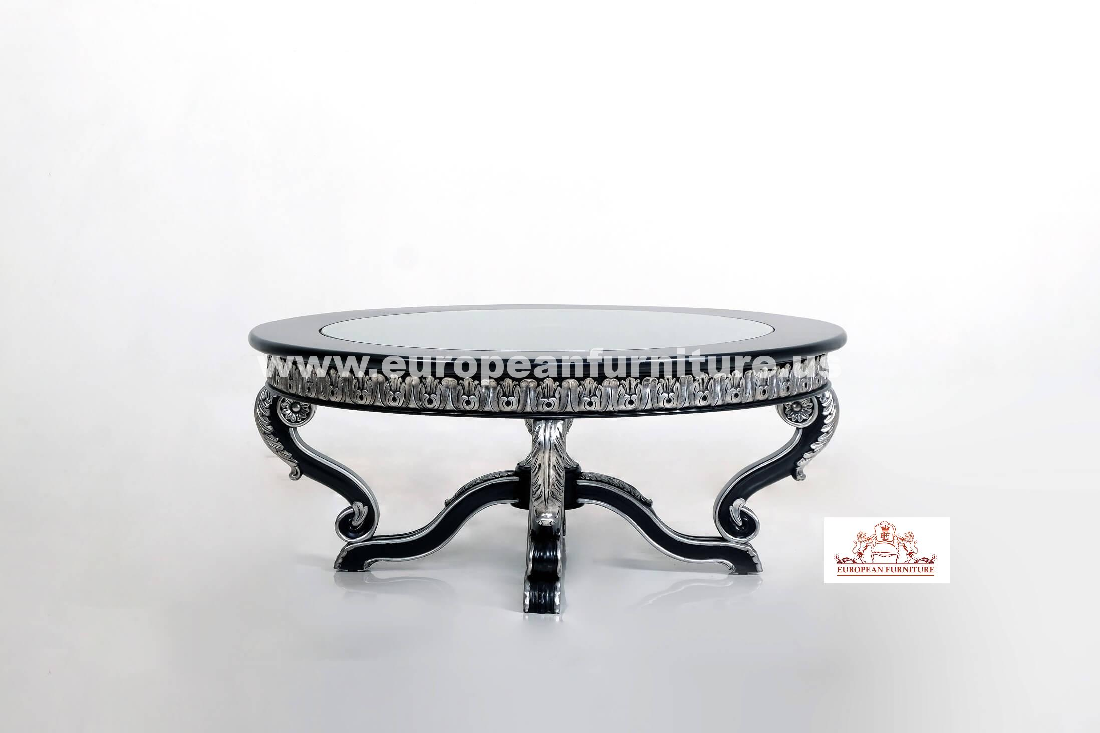 Rosabella Black Silver Round Coffee Table