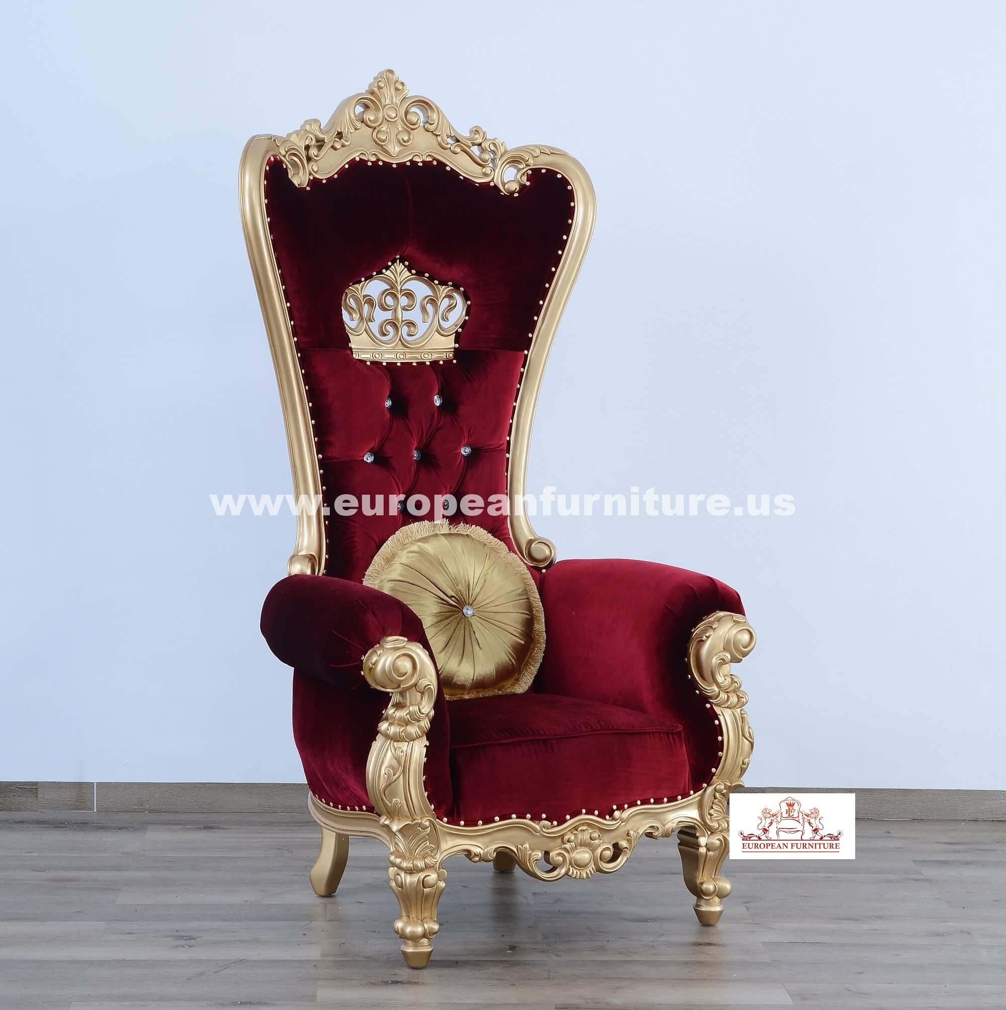 Queen Elizabeth High Back Chair Burgundy Red Velvet