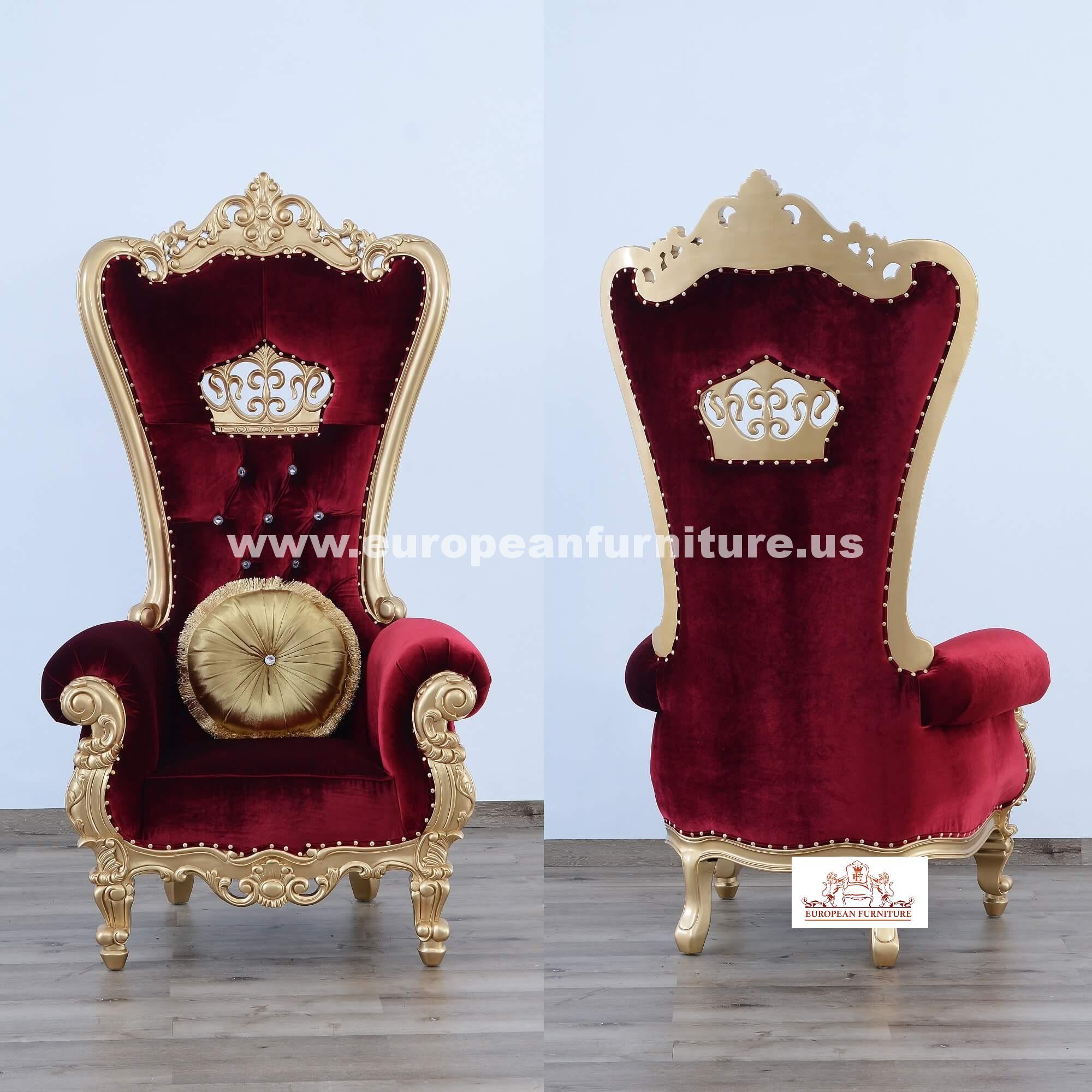 Queen Elizabeth High Back Chair Burgundy Red Velvet